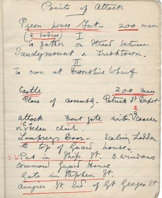 CM notes for 1916 Rising Lissadell collection