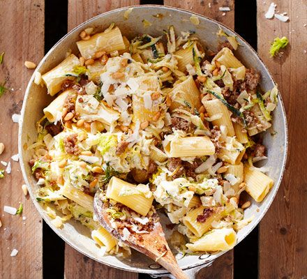 Chunky pasta tubes with a meaty, garlicky sauce and a good dollop of mascarpone - this is classic comfort food at its best