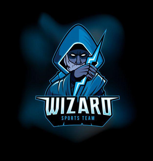 Dark Wizard Holding Thunderbolt Sports Gaming Logo Mascot Logo Design Art Logo Mascot Wizards Logo