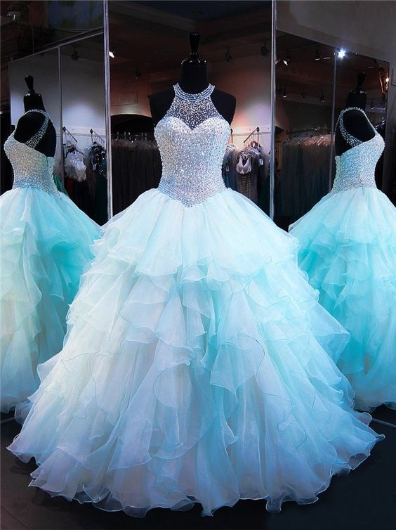 Light Blue Tulle Ball Gown Prom Dress, Crystal Beading Ruffles Quinceanera Dresses, Formal Evening Dress