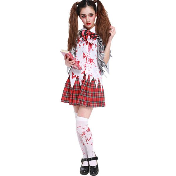Womens Bloody Irregular Plaid Halloween School Girl Costume Silvery ($31) ❤ liked on Polyvore featuring costumes, silvery, sexy school girl halloween costume, womens halloween costumes, sexy women halloween costumes, sexy womens costumes and white costume