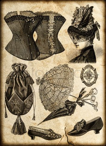 4730156-714599-vintage-fashion-accessories-for-victorian-lady-corsage-shoes-bag-umbrella-jewelry-hat.jpg (350×480)