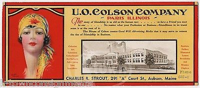 COLSON COMPANY PARIS IL FITZ BOYNTON FLAPPER GIRL ART ADVERTISING INK BLOTTER