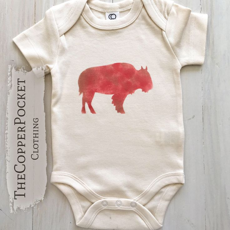 Buffalo Organic baby clothes Animal buffalo baby onesie Newborn Baby boy western outfit boy girl country boho infant clothing baby shower gift idea woodland western gift idea deer rustic Wyoming Idaho Dakota Colorado adventure wild