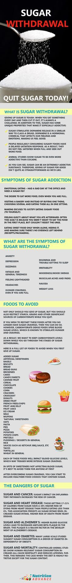 Sugar Withdrawal: How to Quit Sugar For Good - For some people, sugar is a very moreish ingredient and many even claim to have an addiction to the white stuff. How can we beat these feelings of addiction? And what are the symptoms? And what kind of side effects might occur from sugar withdrawal? This infograph looks at those things, from the article at http://nutritionadvance.com/sugar-withdrawal-give-up