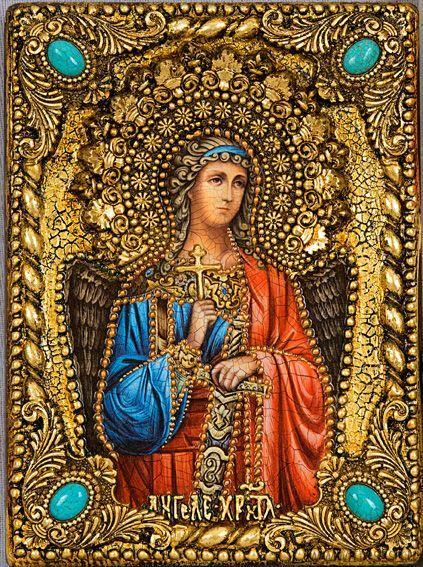 """Икона """"Ангел Хранитель"""" 14 х 19 см, роспись по дереву, серебро, самоцветы"""