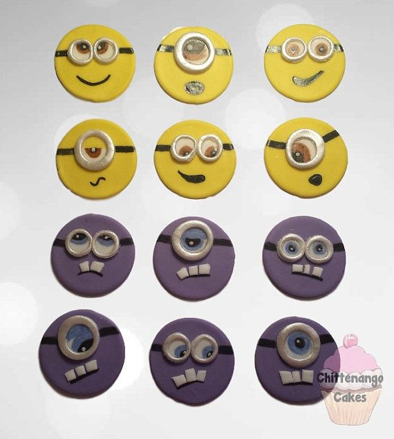 Fondant Minion Cupcake Toppers by CakesByDanica on Etsy
