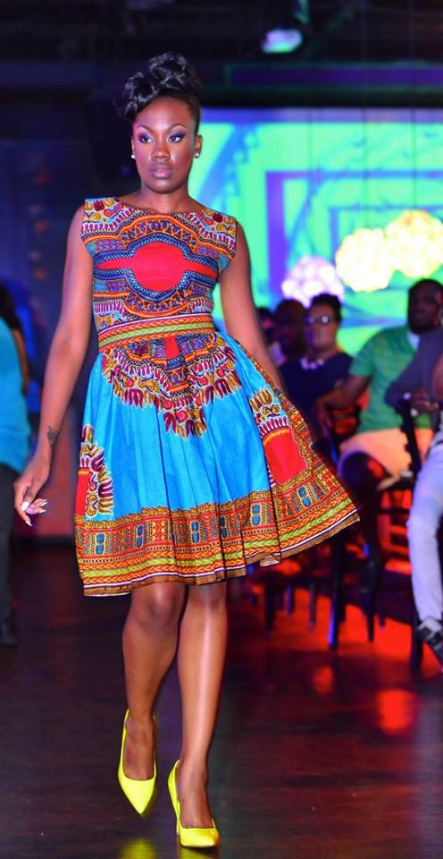 Ruby Dashiki blau/rot Kleid Afrikanische Kleidung von Quistt