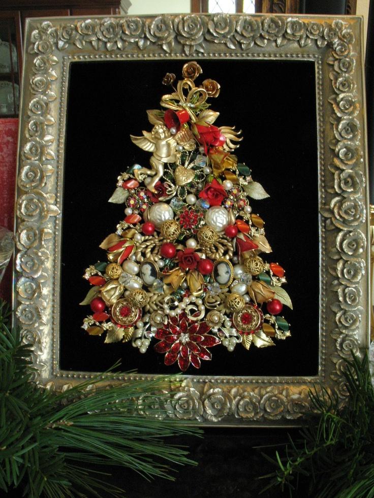 framed vintage jewelry christmas tree art roses cherub heart cameos rhinestone - Ebay Christmas Trees
