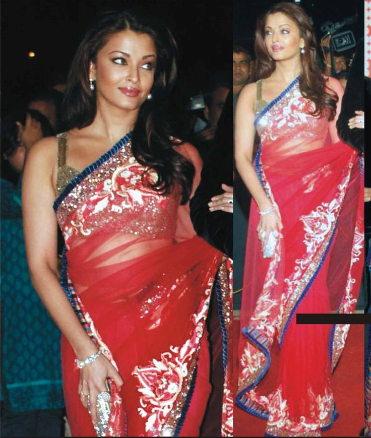 Aishwarya Rai in Red color party wear saree. Images are for reference.