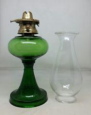 Rare Antique Oil Lamp Emeral Green Early E.M. Miller Burner