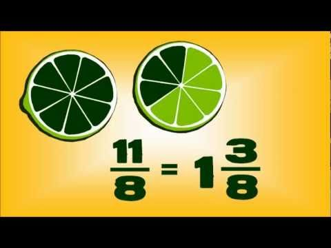 Fruit #Fractions -- animated maths lesson  Fractions, equivalent fractions, improper/mixed fractions #math