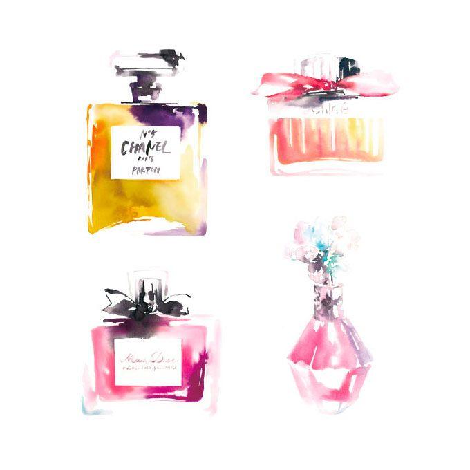perfume,watercolor,illustration,fashion,chanel,dior,chloe,jillstuart