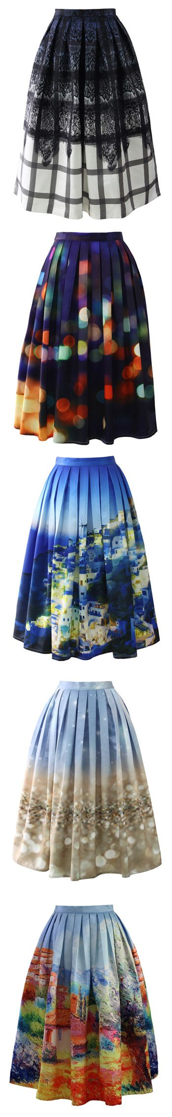 midi skirt one of each. beautiful with a white or black simple blouse depending on the skirt.