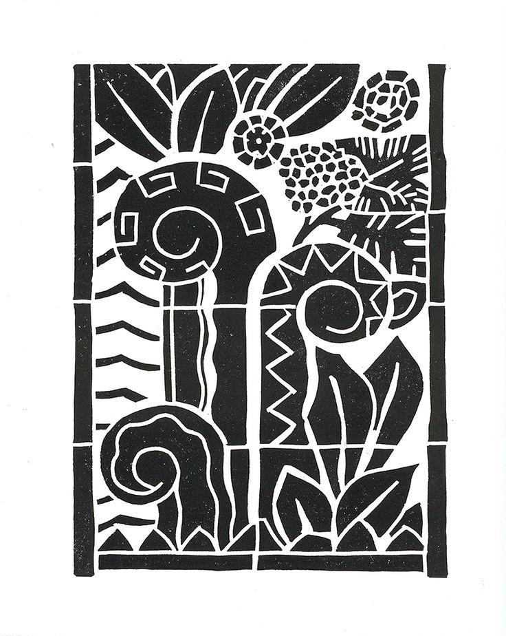 ART DECO TERRACOTTA Linocut Print