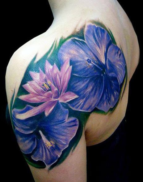 Blue And Purple Flower Tattoo Flowers By Darek Darecki Photo No