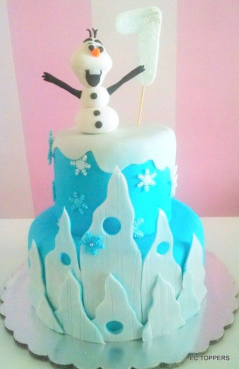 Etsy Frozen Cake Decorations : Edible Fondant Theme Inspired Frozzen / Olaf / Build a ...