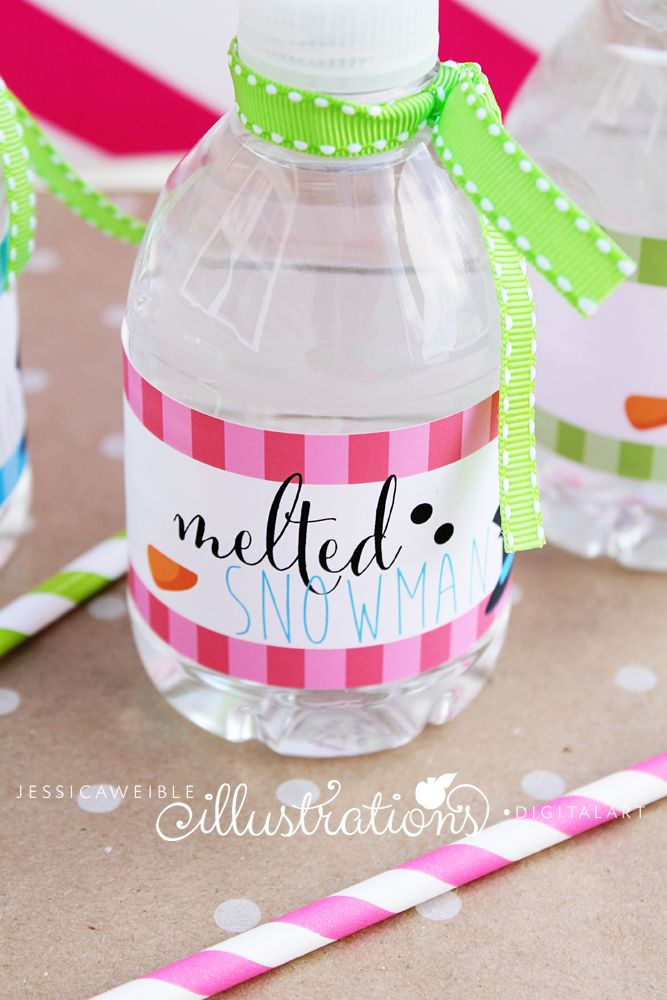 Cute For Winter Birthday Party Melted Snowman Water Bottle Labels