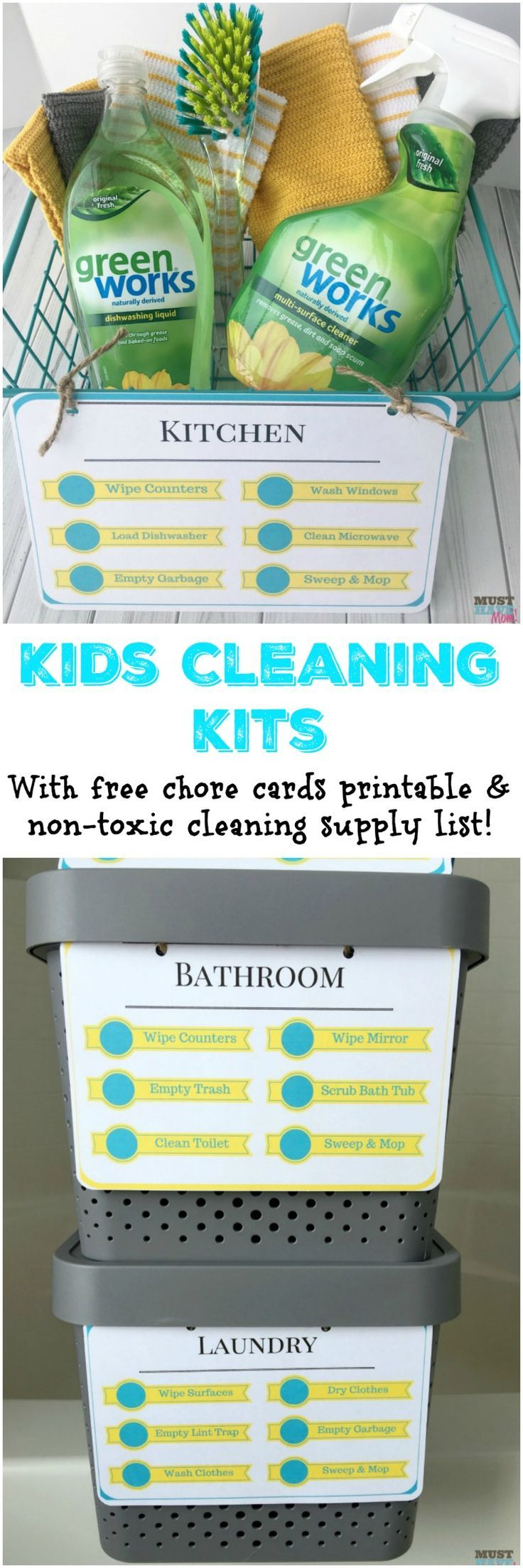 DIY Kids cleaning kits with free printable kids cleaning checklist and natural cleaning products list. Put together these kids chore kits so they can effectively and safely clean each room!