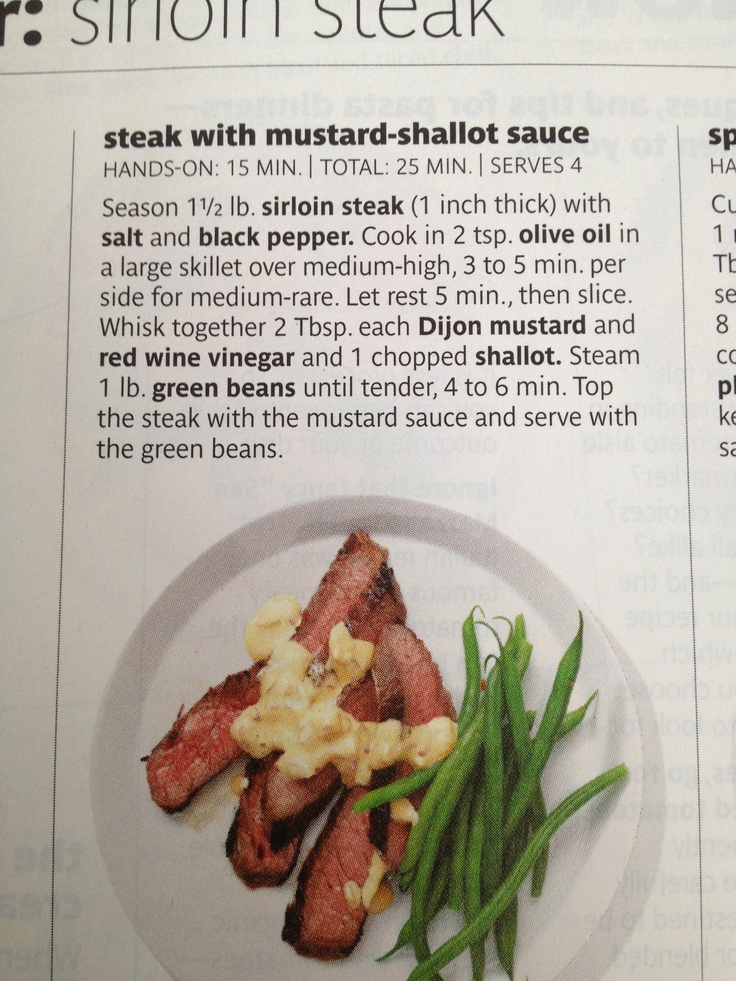 Steak with mustard and shallot sauce | Food | Pinterest