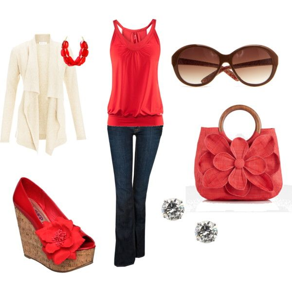 Red and jeansShoes, Casual Outfit, Fashion Ideas, Red, Jeans, Cute Outfit, Style Clothing, Bags, Dreams Closets