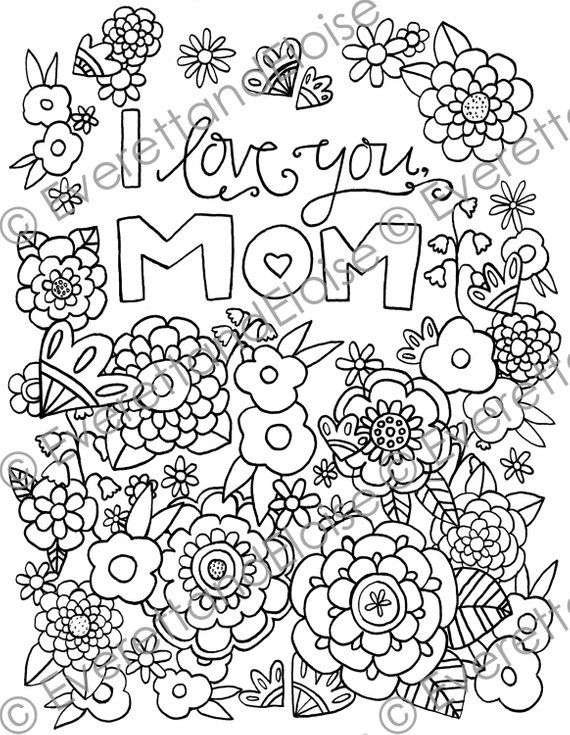 Digital Download I Love You Mom Coloring Page Etsy Mom Coloring Pages Love Coloring Pages Coloring Pages