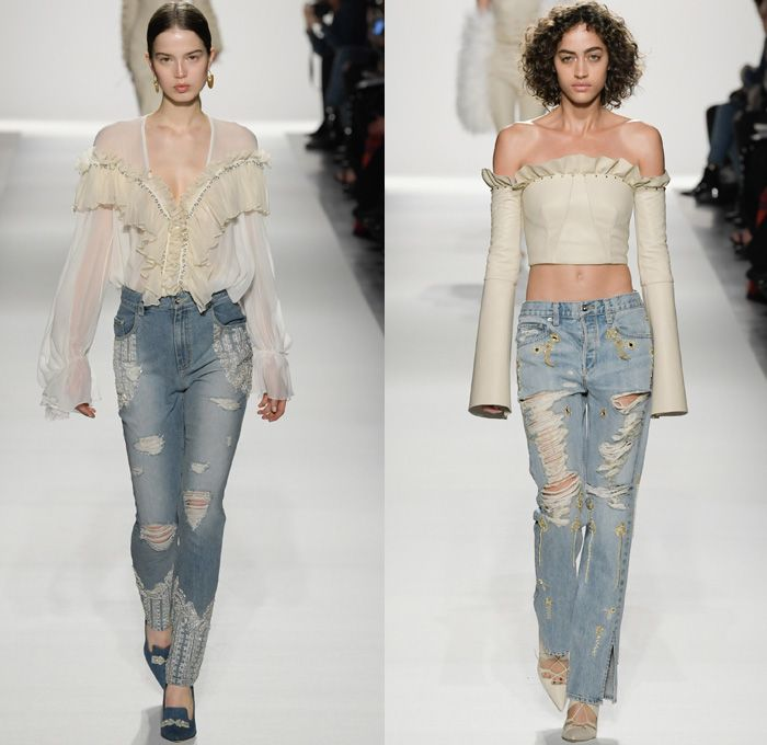 Jonathan Simkhai 2017-2018 Fall Winter Womens Runway Catwalk Looks - New York Fashion Week NYFW - Old World Spain Aristocracy Denim Jeans Bustier Destroyed Destructed Ripped Holes Trucker Jacket Lace Up Cross Stitch Cargo Pockets Ornamental Decorative Art Embroidery Embellishments Decorated Bedazzled Sequins Grommets Lace Mesh Needlework Knitwear Sheer Chiffon Tulle Tiered Skirt Frock Blouse Ruffles Strapless Crop Top Midriff Fox Fur Stole Shawl Plush Outerwear Coat Silk Satin Maxi Dress…