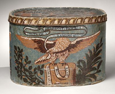 Putnam and Roff Eagle with banners band box Hartford, Connecticut, circa 1821-1824 Sold to the Shelburne Museum