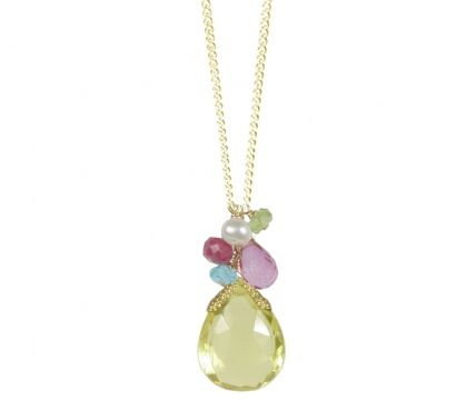 14ct gold filled pendant with Lemon Quartz drop  http://www.mounir.co.uk/collections/clustered_gems/4819_clustered_lemon_quartz_pendant