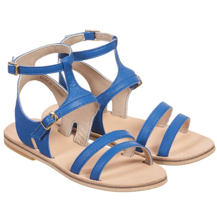 Girls Royal Blue Leather Sandals Blue leather sandals