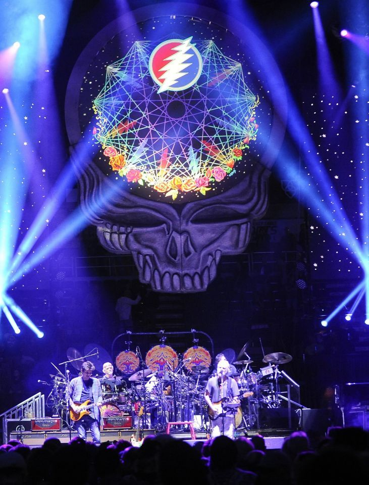 Grateful Dead members Mickey Hart, Bill Kreutzmann and Bob Weir play with singer/guitarist John Mayer, Oteil Burbridge, and Jeff Chimenti to form the band Dead & Company during a show at Times Union Center in Albany, N.Y.,Thursday, Sept. 29, 2015. The band performs this Sunday and Monday at Bill Graham Civic Auditorium in San Francisco.