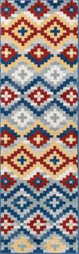 Azteca Works Blue Southwestern Runner Rug - Well Woven
