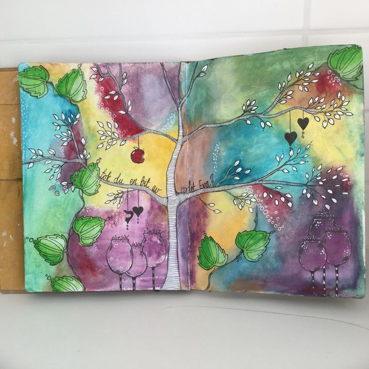 Acrylic paint in art journal . Inspired by Tam . Made by Anja Waage