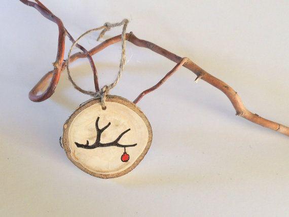 Antler Ornament, Wood Slice Ornament, Tree Slice Wedding Charms, Deer Antler, Aspen Wood Keepsake, Eco Friendly Wedding Favor on Etsy, $4.50...add the year for the tree