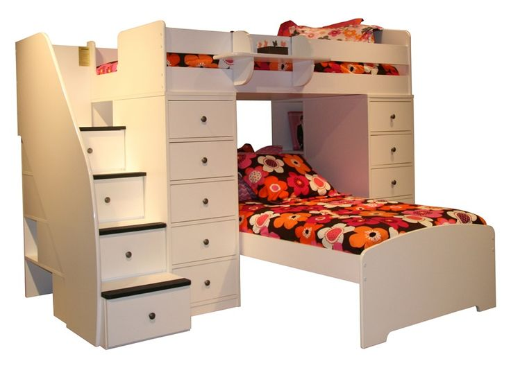 Space Saver Twin Over Twin L Shaped Loft Bed W Chests And