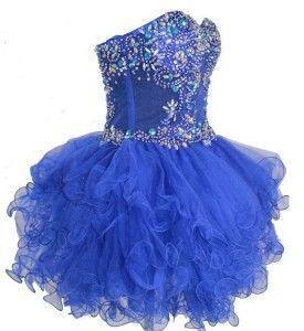 corset beaded royal blue ruffle poofy short prom