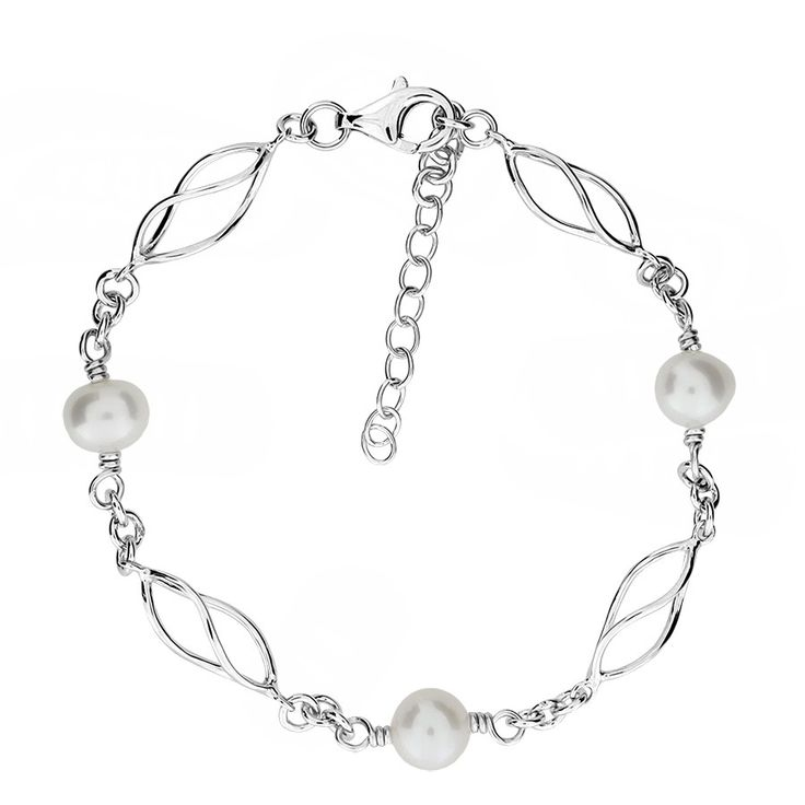Open spirals of polished sterling silver sit between ivory colour freshwater pearls on this beautiful link bracelet.  The bracelet comes complete with an extension chain so that you can easily adjust the length to suit your wrist.  Each pearl measures 9mm in diameter.