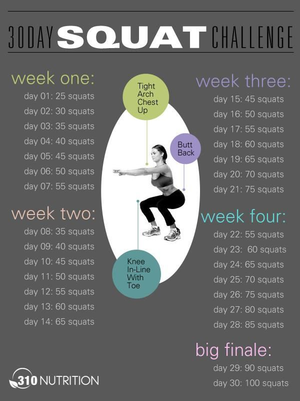squats // awesome for beginners or those afraid of the 30 day challenge!