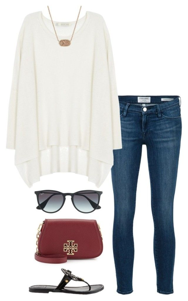 """""""no school tomorrow!!!"""" by helenhudson1 ❤ liked on Polyvore featuring Frame Denim, Century Seven, Ray-Ban, Tory Burch and Kendra Scott"""