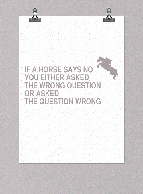 If a horse says no, you either asked the wrong question, or you asked the question wrong.