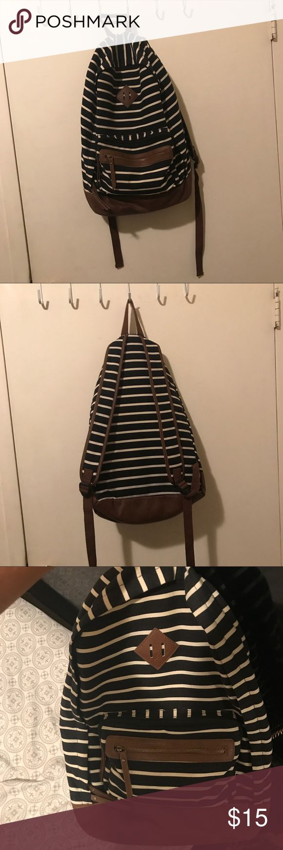 Striped Backpack Black and cream large striped backpack, perfect for school! Mossimo Supply Co. Bags Backpacks