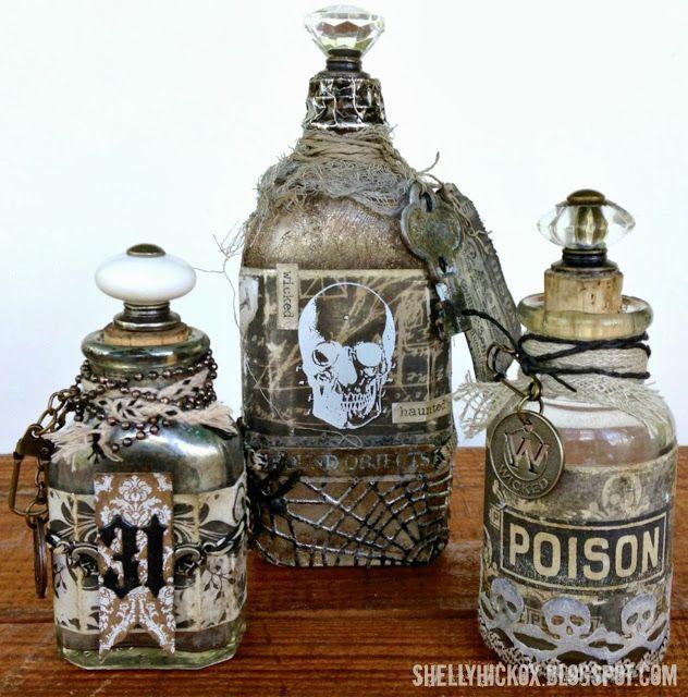 Shelly Hickox: Spooky Altered Halloween Bottles http://shellyhickox.blogspot.com/2013/09/spooky-altered-halloween-bottles.html?