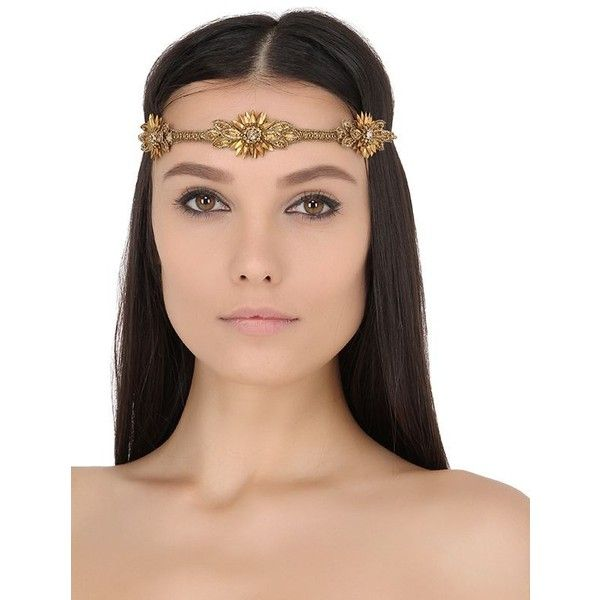 Deepa Gurnani Women Ladies Embellished Self Tie Headband ($96) ❤ liked on Polyvore featuring accessories, hair accessories, gold, head wrap headband, headband hair accessories, deepa gurnani, hair band headband and wrap headbands