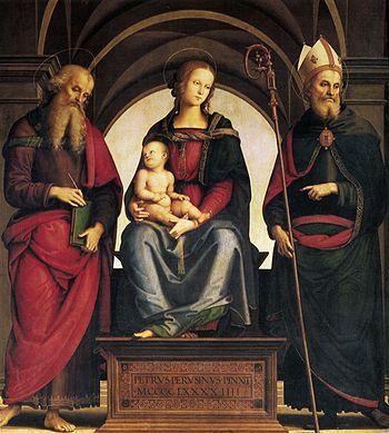 Perugino - La Madonna col Bambino in trono tra i santi Giovanni evangelista e Agostino è un dipinto a tempera su tavola di Pietro Perugino, datato al 1494 e conservato nella chiesa di Sant'Agostino a Cremona.