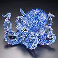 Blue Teal Soul Glass Octopus Sculpture with Suction Cups
