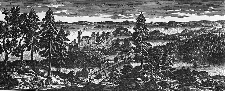 #Almarestäket Det som idag heter #Stocksund. Ruinen i mitten var tidigt 1500tal ett slott där den danskstödda ärkebiskopen huserade.