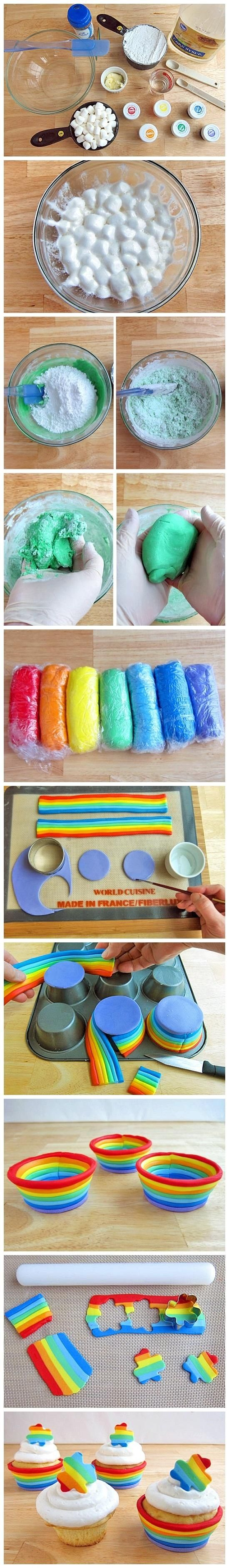 rainbow cupcakes_ Ingredients 2 tablespoons shortening or butter 16 ounces mini marshmallows 4 tablespoons water 2 teaspoons corn syrup optional, flavored oil or extract 2 pounds confectioners (powdered) sugar paste or gel coloring – violet, indigo, blue, green, yellow, orange, red 12 baked cupcakes (baked in the same muffin tin you use to make the fondant cups) frosting optional decorations, gold luster dust, gold edible glitter, sprinkles
