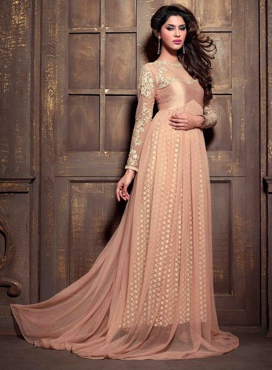 USD 83.96 Peach Net Designer Anarkali Suit 47887