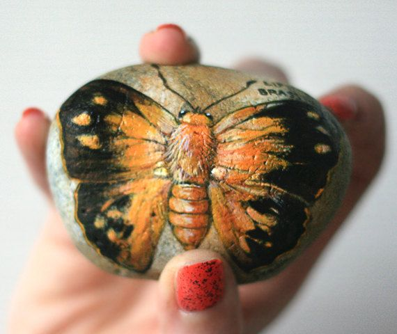 Stone with a hand-painted Liphyra brassolis butterfly by SkadiaArt