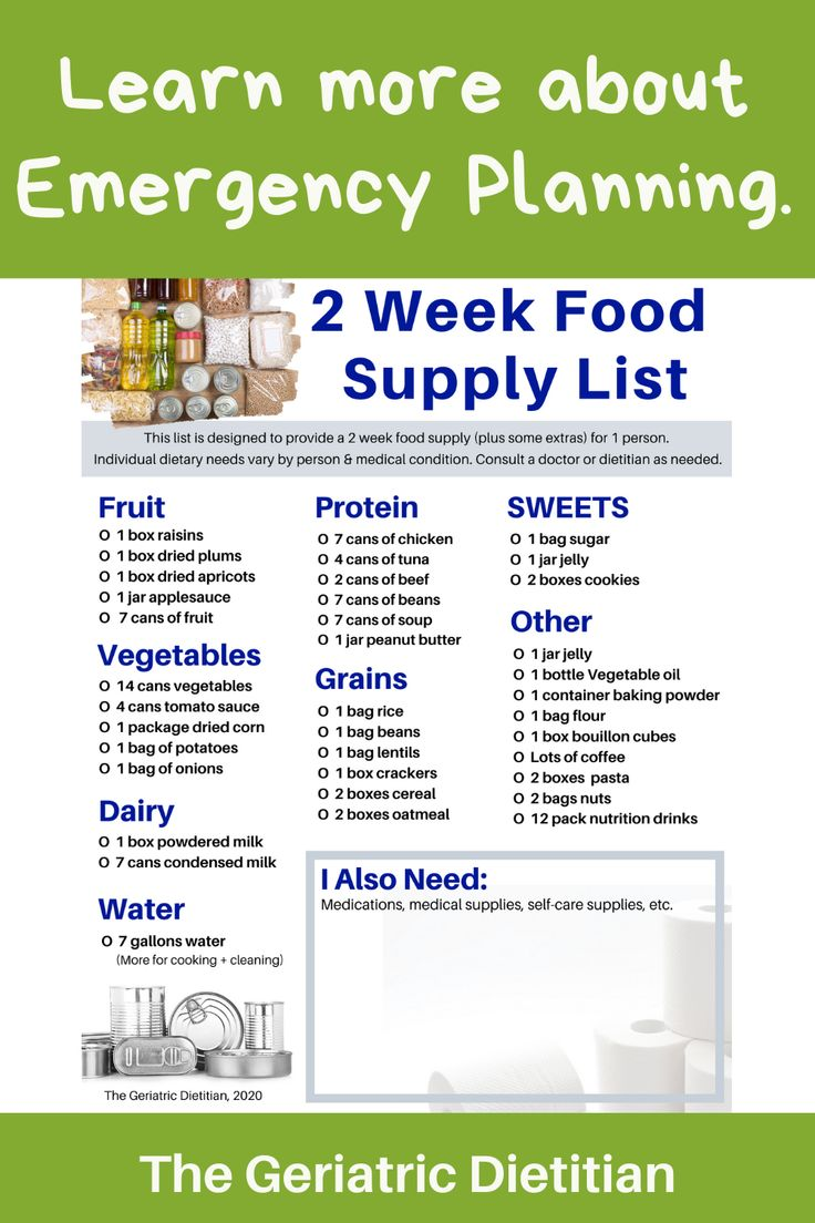 2 Week Emergency Food Supply List in 2020 Food supply